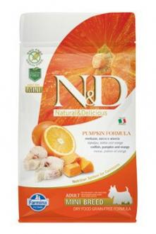 N&D GF Pumpkin DOG Adult Mini Codfish & Orange 800g
